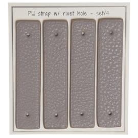 GoHandMade Handvaten voor klinknagels beige - PU Leather 8,5x1,8cm set/4