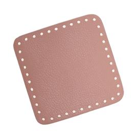 GoHandMade Tas/mand bodem - rose, PU- leather - vierkant 15x15 cm