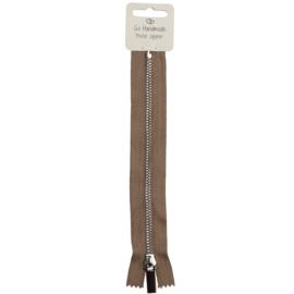 GoHandMade Metalen rits- beige/zilver - 20 cm