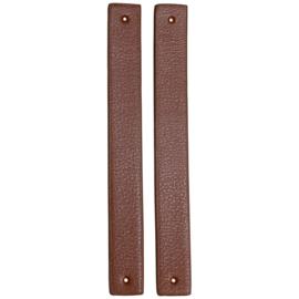 GoHandMade Handvaten voor klinknagels brown - PU Leather 22x2,2cm set/2