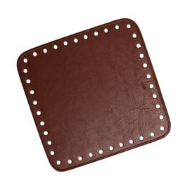 GoHandMade Tas/mand bodem - brown, PU- leather - vierkant 15x15 cm