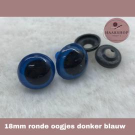Veiligheidsoogjes donker blauw rond 18mm 1 paar