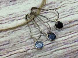 Steekmarkeerders metaal zilver set  blauw/zwart