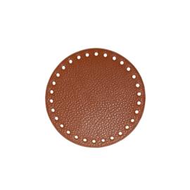 GoHandMade Tas/mand bodem - brown, PU- leather - rond D13 cm