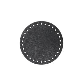 GoHandMade Tas/mand bodem - black, PU- leather - rond D13 cm