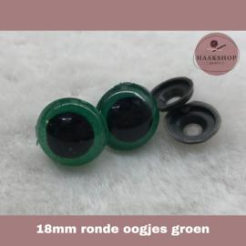 Veiligheidsoogjes groen rond 18mm 1 paar