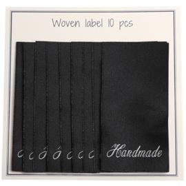 """GoHandMade Geweven labels, black -60 mm x 32 mm - set/10 - """"handmade"""""""