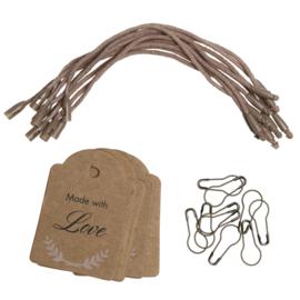GoHandMade Manila tag set - small/pink zipper bag - 'Things'