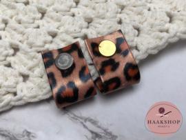 PU Leren label/lus met schroef luipaard