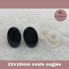 Veiligheidsoogjes zwart ovaal 22 x 16 mm 1 paar