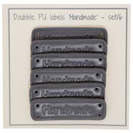 GoHandMade PU leather label - grey - 5 x 1,5 cm - set/6 'handmade'