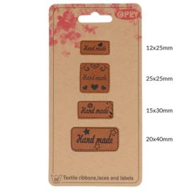 Opry Skai-leren labels handmade - 4st