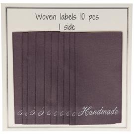 "GoHandMade Geweven labels, dark lavender -60 mm x 32 mm - set/10 - ""handmade"""