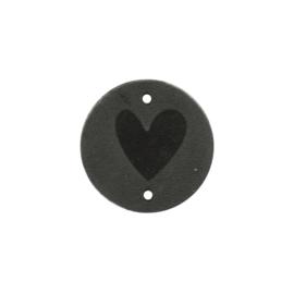 Leren label rond Hart 30mm grijs