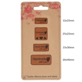 Opry Skai-leren labels handmade with love - 4st