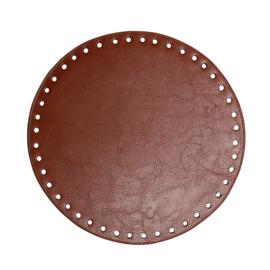 GoHandMade Tas/mand bodem - bruin, PU- leather - rond D20 cm