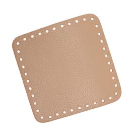 GoHandMade Tas/mand bodem - apricot, PU- leather - vierkant 15x15 cm