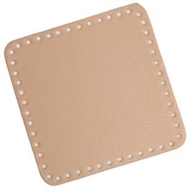 GoHandMade Tas/mand bodem - apricot, PU- leather - vierkant 18x18 cm