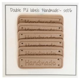 GoHandMade PU leather label - apricot - 5 x 1,5 cm - set/6 'handmade'