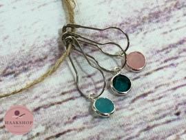Steekmarkeerders metaal zilver set  turquoise/roze