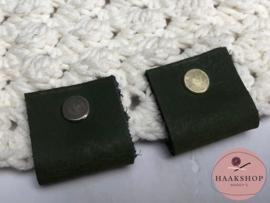 Leren label/lus BIG met schroef 30mm army green