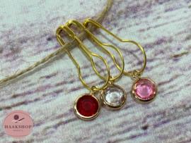 Steekmarkeerders metaal goud set  rood/roze