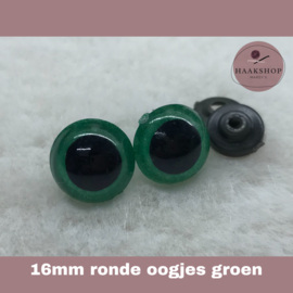 Veiligheidsoogjes groen rond 16mm 1 paar