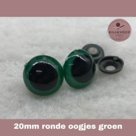 Veiligheidsoogjes groen rond 20mm 1 paar