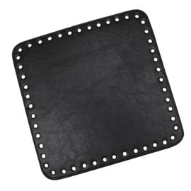 GoHandMade Tas/mand bodem - black, PU- leather - vierkant 18x18 cm