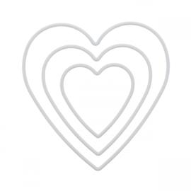 Set van 3 ringen hartvorm gerecycled PET