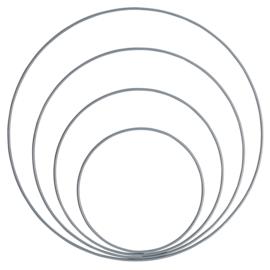 GoHandMade set van 4 metalen ringen grey/blue