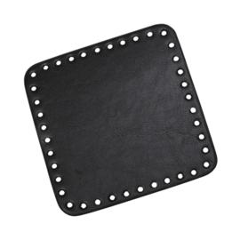 GoHandMade Tas/mand bodem - black, PU- leather - vierkant 15x15 cm