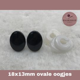 Veiligheidsoogjes zwart ovaal 18 x 13 mm 1 paar
