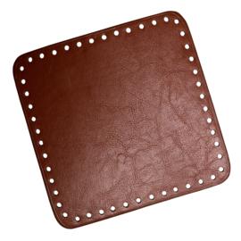 GoHandMade Tas/mand bodem - brown, PU- leather - vierkant 18x18 cm