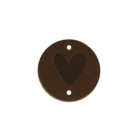 Leren label rond Hart 30mm bruin