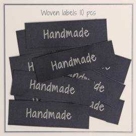 """GoHandMade Geweven labels, grijs -50 mm x 15 mm - set/10 - """"handmade"""""""