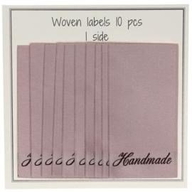 """GoHandMade Geweven labels, nude -60 mm x 32 mm - set/10 - """"handmade"""""""