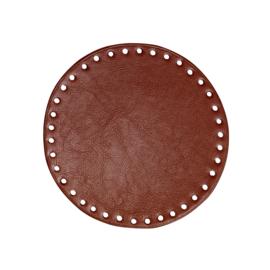 GoHandMade Tas/mand bodem - bruin, PU- leather - rond D17 cm