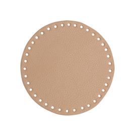 GoHandMade Tas/mand bodem - apricot, PU- leather - rond D17 cm