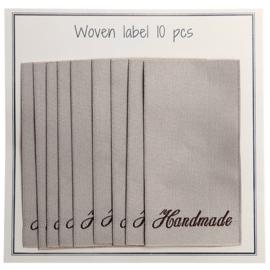 """GoHandMade Geweven labels, beige -60 mm x 32 mm - set/10 - """"handmade"""""""