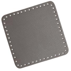 GoHandMade Tas/mand bodem - grey, PU- leather - vierkant 18x18 cm