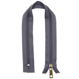 GoHandMade nylon rits- donker grijs/brons - 30 cm