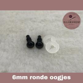 Veiligheidsoogjes zwart rond 6mm 1 paar