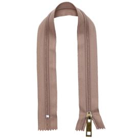 GoHandMade nylon rits- beige/brons - 30 cm