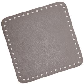 GoHandMade Tas/mand bodem - beige, PU- leather - vierkant 18x18 cm
