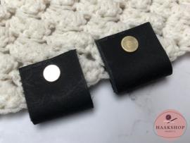 Leren label/lus BIG met schroef 30mm zwart