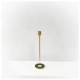 Slanke kandelaar goud-groen Ø7,5x25,5cm