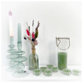 Glazen kandelaar met ringen L groen