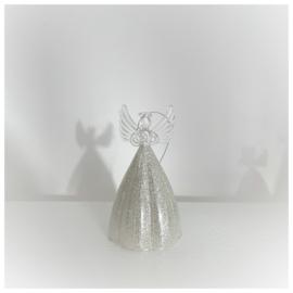 Kersthanger engel met zilveren rok 12cm