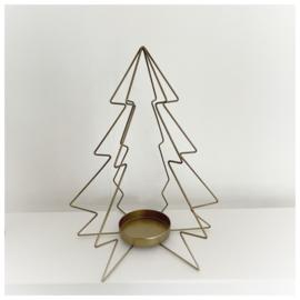 Waxinelichthouder Kerstboom goud 30cm